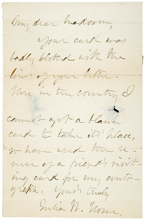 3009: JULIA WARD HOWE Signed Letter, 1889