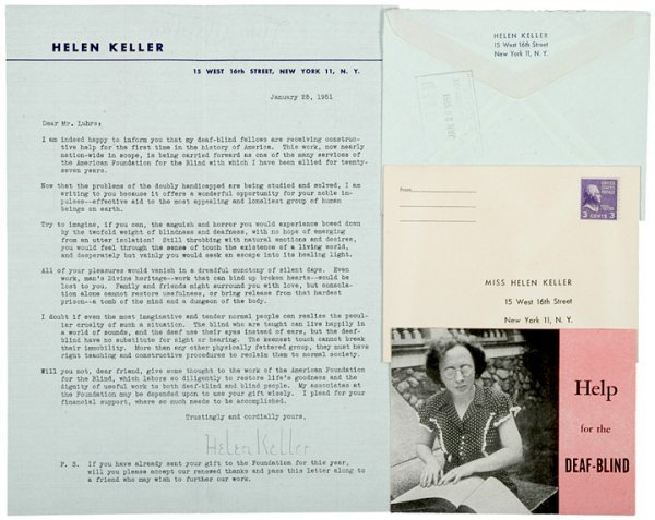 3011: HELEN KELLER 1951 Typed Letter Signed