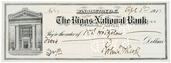 3012: ROBERT TODD LINCOLN Signed Check, 1917