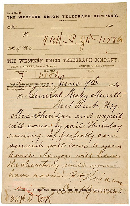 3016: PHILLIP SHERIDAN, 1866 Telegraph Note Signed