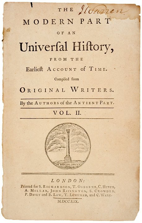 3023: JAMES WARREN-Signed Title Page, Revolutionary War