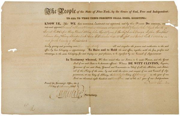4001: NY Governor DEWITT CLINTON Signed Document