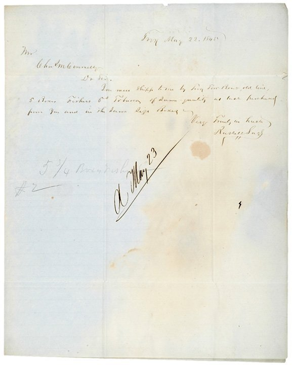 4003: 1845 Letter Signed by Financier RUSSELL SAGE