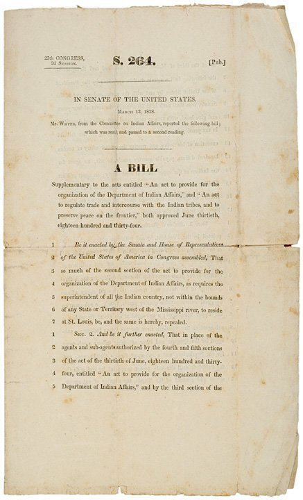 4007: 1838 Printing of Bill on Dept of Indian Affairs