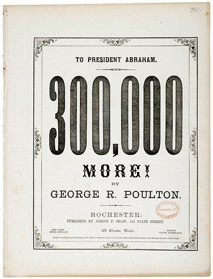 4016: ABRAHAM LINCOLN Sheet Music, G. Poulton, c. 1862