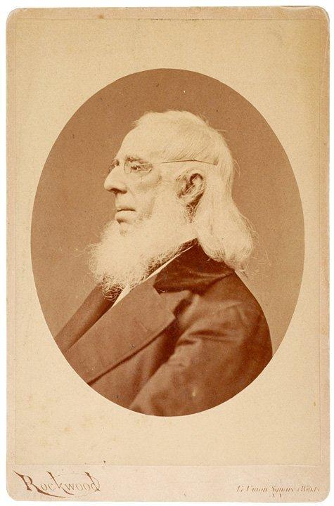 4021: c. 1865, Cabinet Card of Peter Cooper, Locomotive
