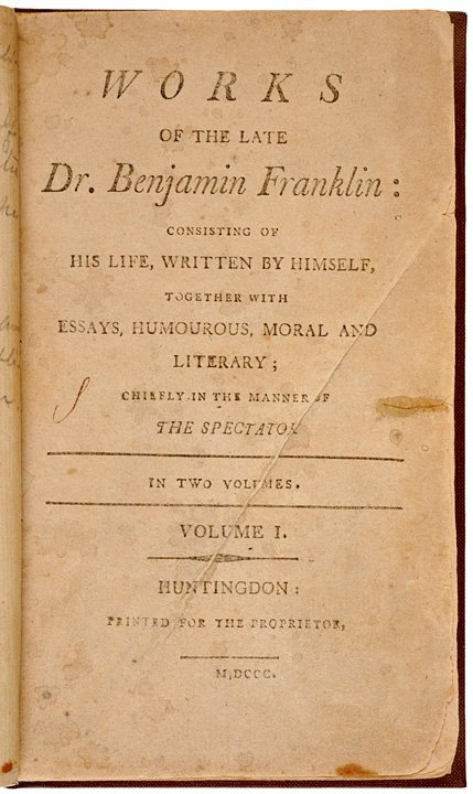 5001: 1800 Works of The Late Dr. Benjamin Franklin