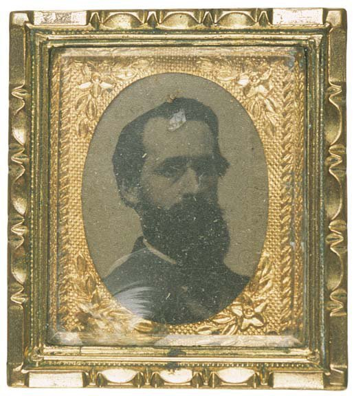 5002: Civil War Offiecer Tintype With Pinback