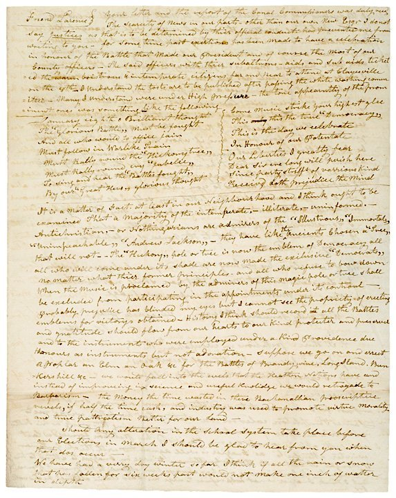 5010: 1835 Letter And Poem Critical of Andrew Jackson