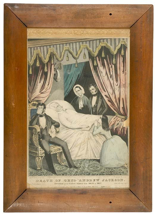 5024: 1845 Currier + Ives Print, DEATH OF PRES. JACKSON