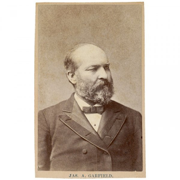 5069: James A. Garfield CDV On Old Advertising Card