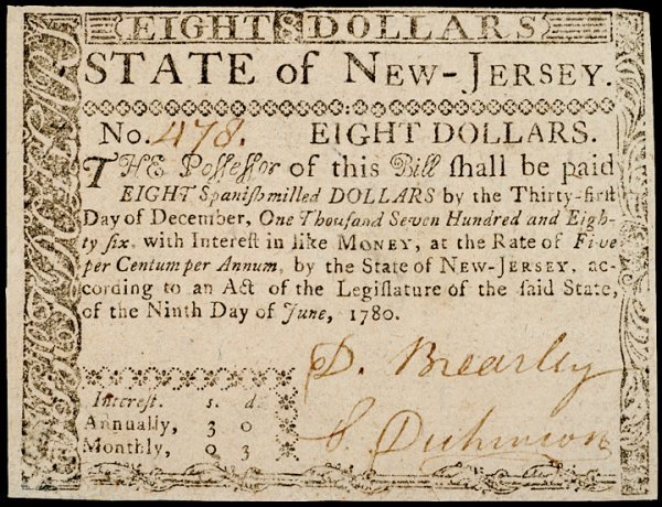1: Colonial Currency, NJ, June 9, 1780, $8, BREARLEY
