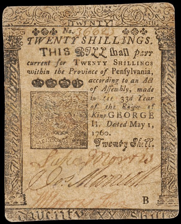 2: Colonial Currency, PA, May 1, 1760, 20 Shillings