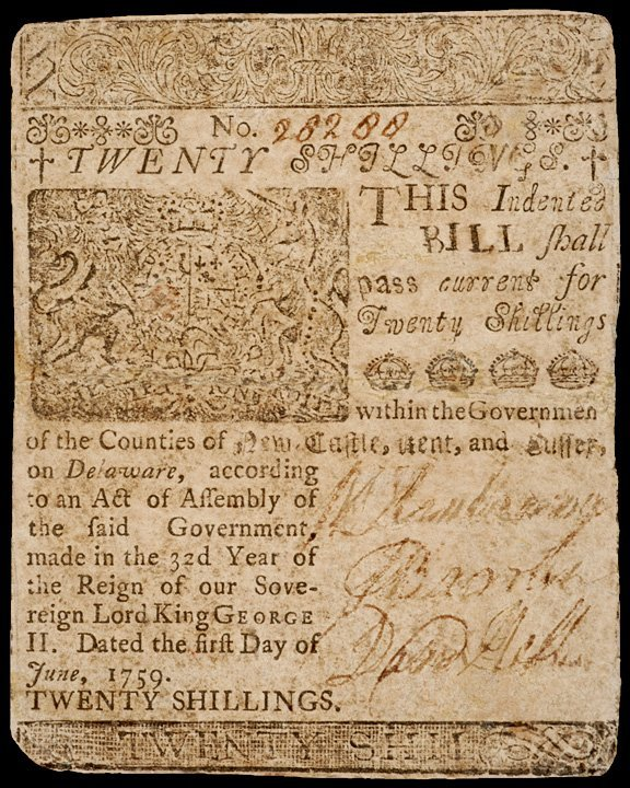 3: Colonial Currency, DE, June 1, 1759, 20 Shillings