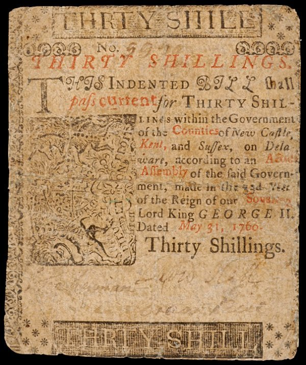 4: Colonial Currency, DE, May 31, 1760, 30 Shillings