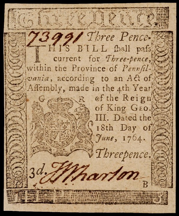 5: Colonial Currency, PA, June 18, 1764, 3 Pence