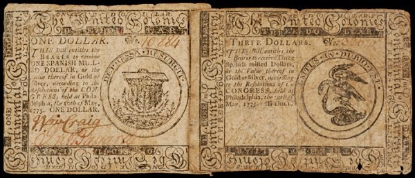 6: Continental Currency, May 10, 1775, $1 + $3 Notes