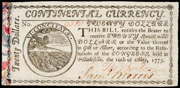7: Continental Currency, May 10, 1775, $20 - Marbled