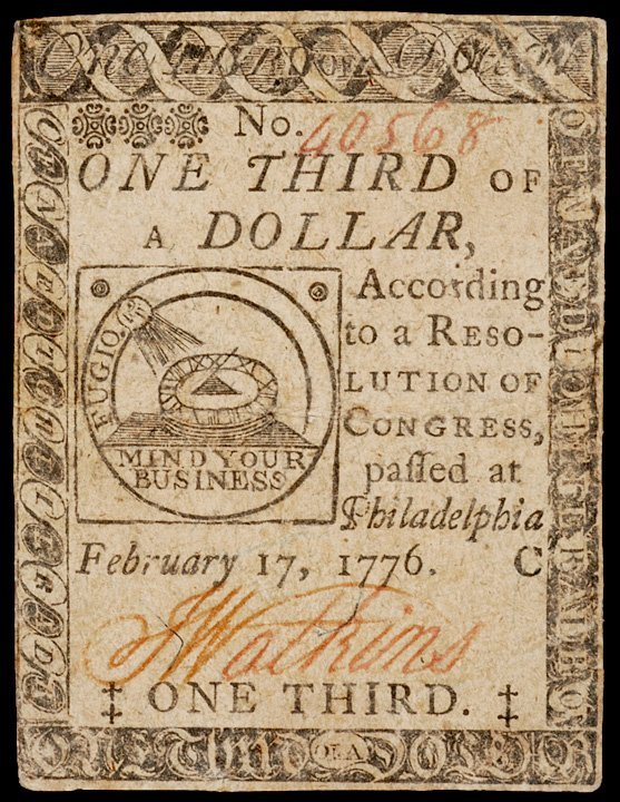 9: Continental Currency, February 17, 1776, $1/3