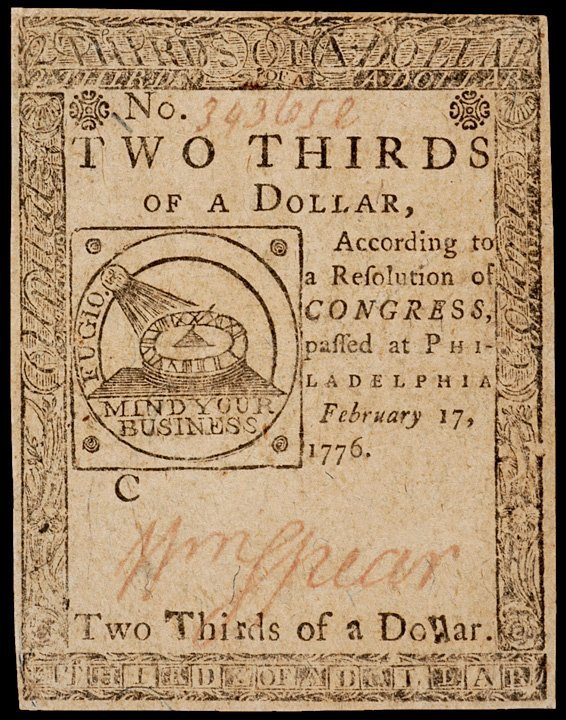 11: Continental Currency, February 17, 1776, $2/3