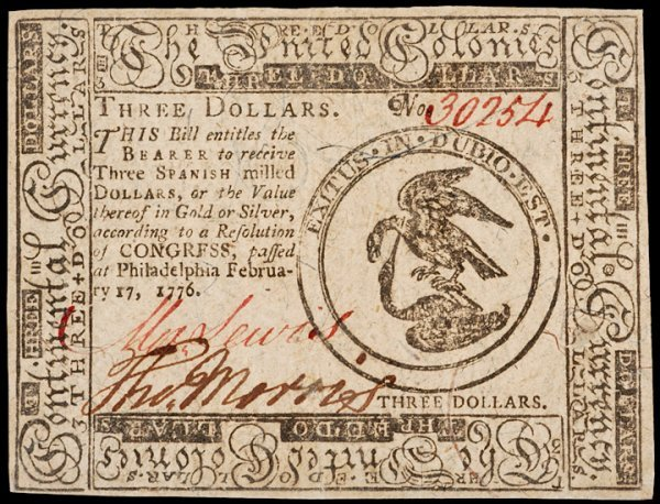 12: Continental Currency, February 17, 1776, $3