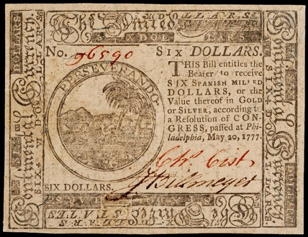 15: Continental Currency, May 20, 1777, $6