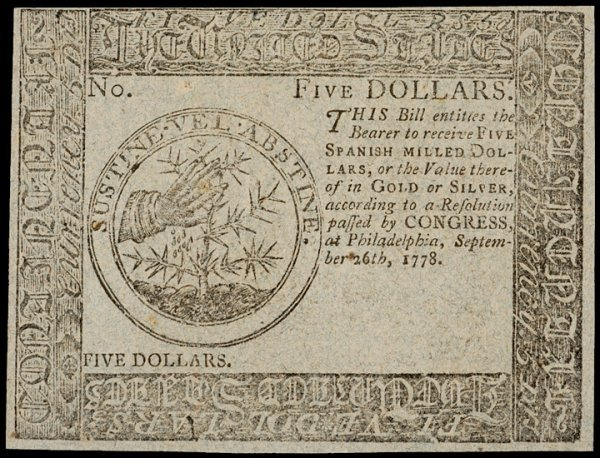 17: Continental Currency, September 26, 1778, $5