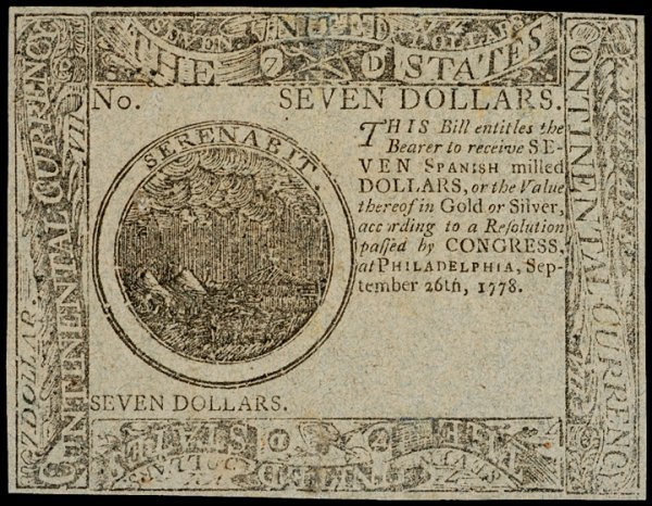 18: Continental Currency, September 26, 1778, $7
