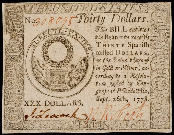 19: Continental Currency, September 26, 1778, $30