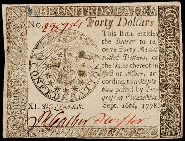 20: Continental Currency, September 26, 1778, $40