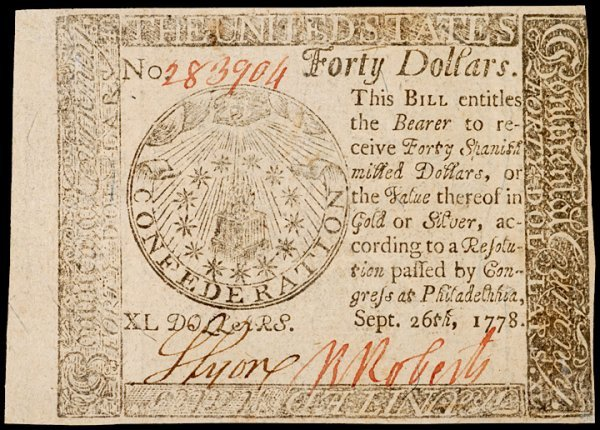 21: Continental Currency, September 26, 1778, $40