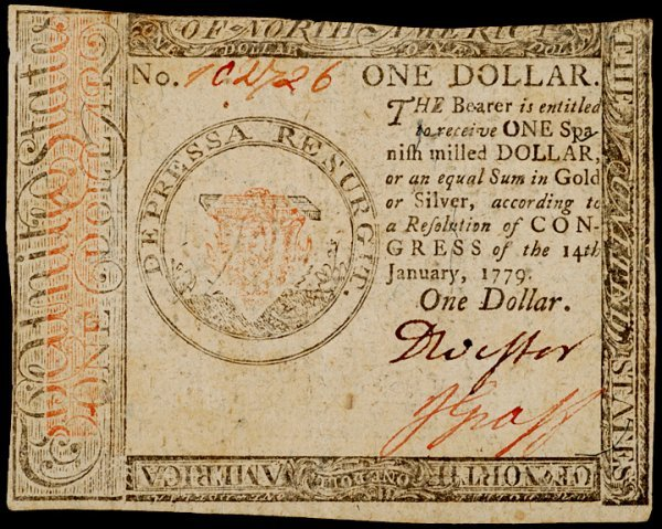 22: Continental Currency, January 14, 1779, $1