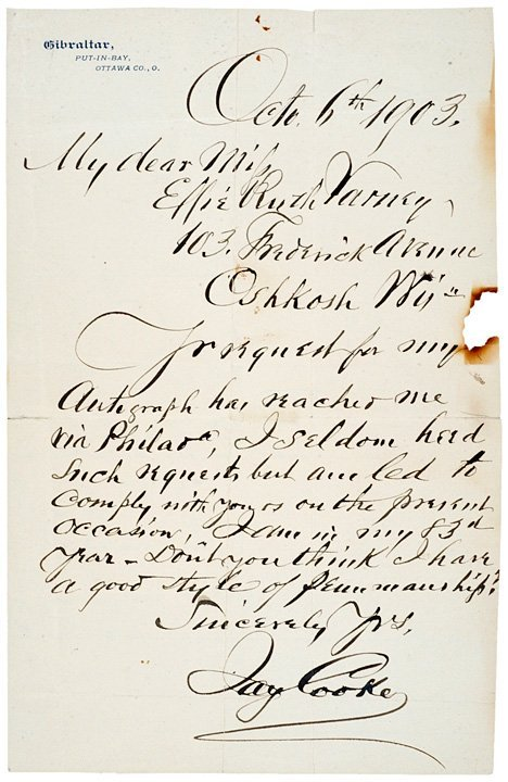 2010: Autographed Letter Signed, JAY COOKE, 1903