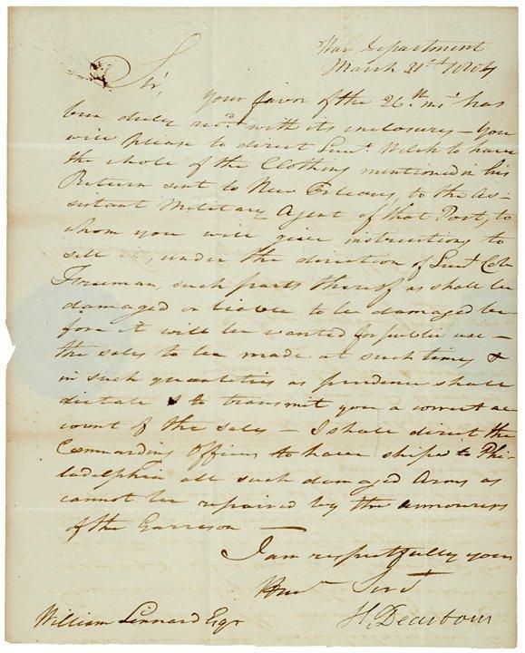 2015: 1804 Secretary of War HENRY DEARBORN Letter