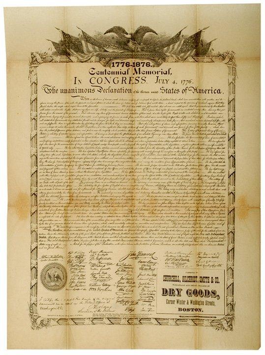 2016: DECLARATION OF INDEPENDENCE, c. 1875, Broadside