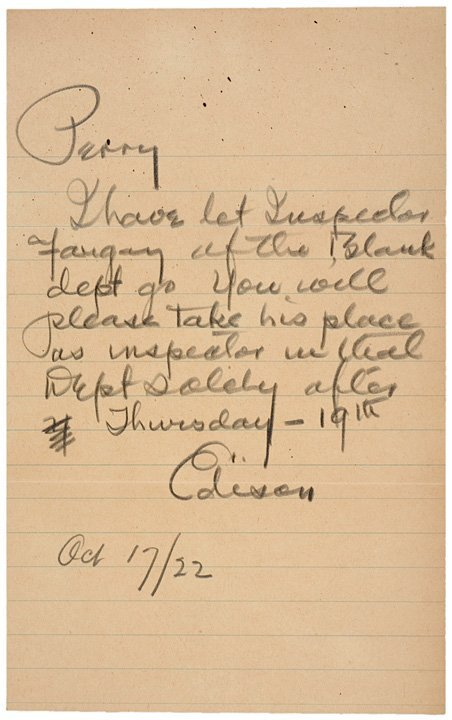 2022: THOMAS A. EDISON Signed Letter to Employee