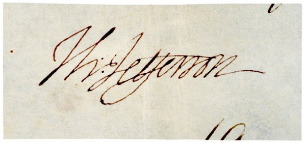 2035: Clipped Signature, THOMAS JEFFERSON, On Vellum