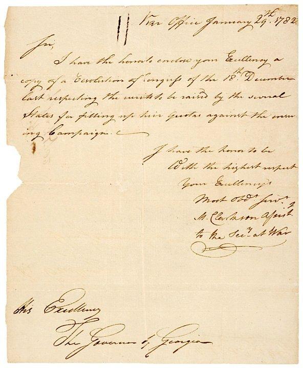 1004: MATTHEW CLARKSON Signed Revolutionary War Letter