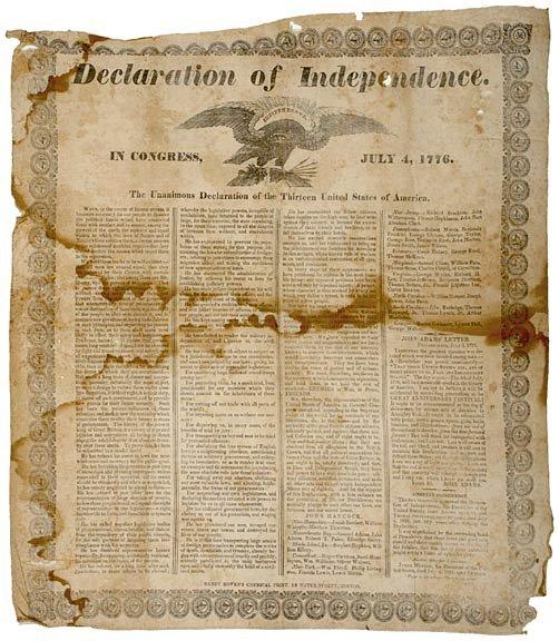 1005: DECLARATION OF INDEPENDENCE, Silk Broadside1835