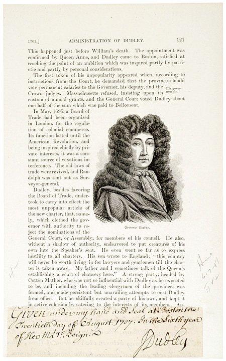 1007: JOSEPH DUDLEY, 1707 Cut Document Signed