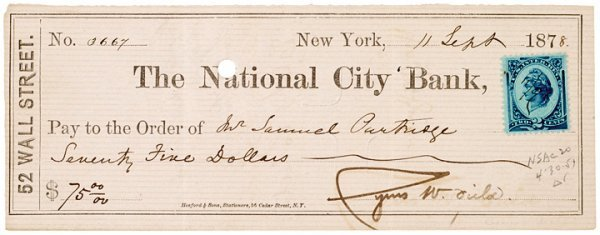 1008: CYRUS W. FIELD, Document Signed, 1878