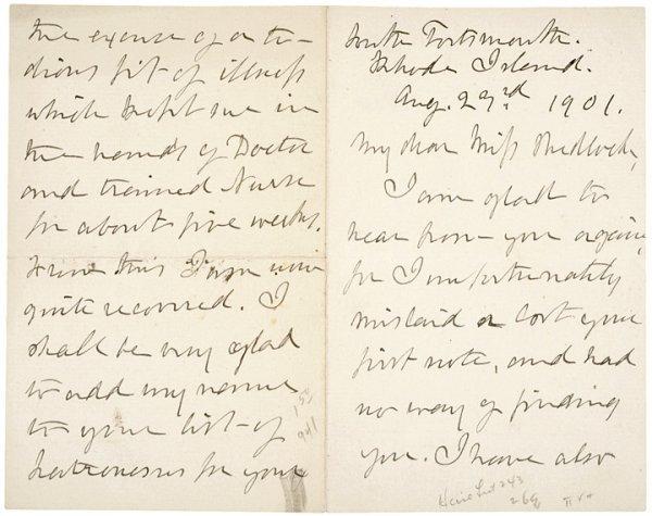 1009: JULIA WARD HOWE, 1901 Autograph Letter