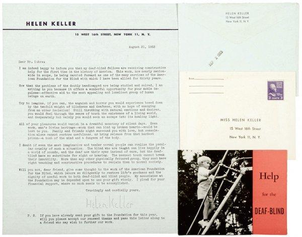 1010: HELEN KELLER 1953 Typed Letter Signed