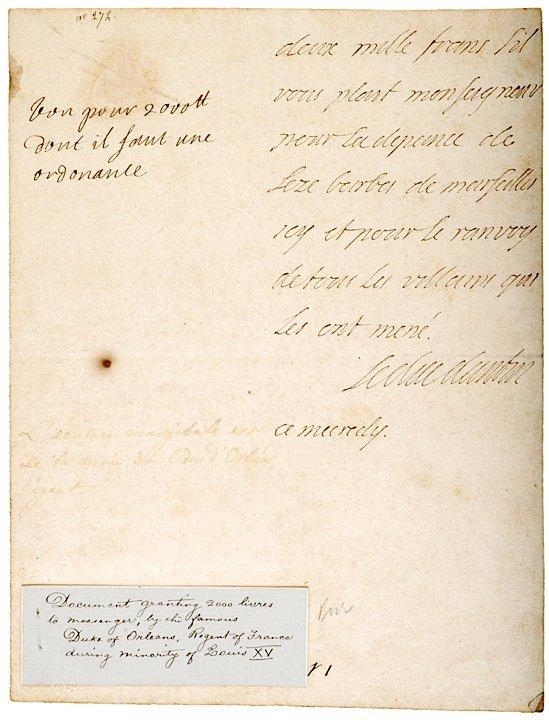 1012: PHILLIP II, DUC D ORLEANS, c. 1715 Document