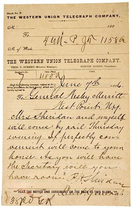 1015: PHILLIP SHERIDAN, 1866 Telegraph Note Signed