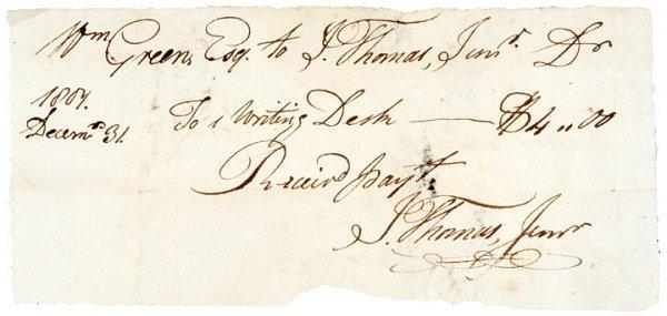 1018: ISAIAH THOMAS, JR., Mauscript Document 1804