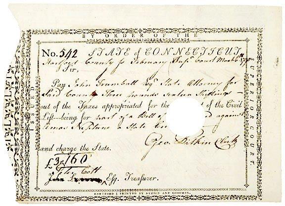 1019: JOHN TRUMBULL, Signed Document, 1790