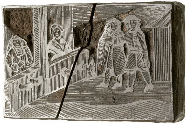 1021: 18th Century Woodblock of Two Women In Pillory