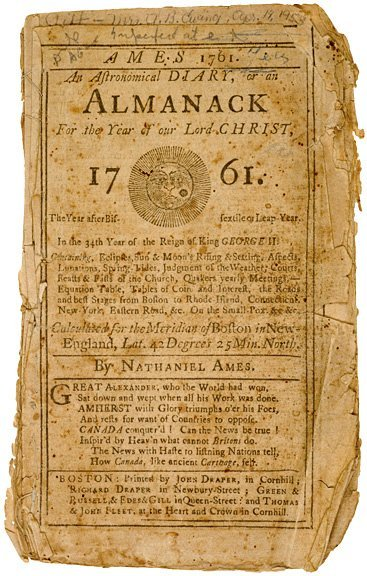 1023: AMES ALMANACK for 1761 - Astronomical Diary