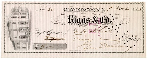 2006: GEORGE DEWEY, Check Signed, 1893